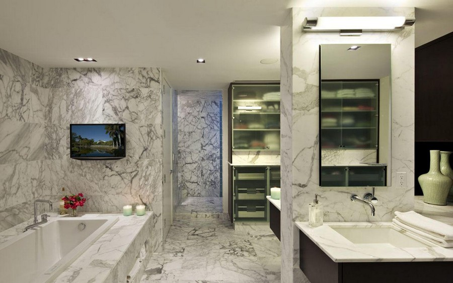 5-TV-set-in-bathroom-interior-design-gray-marble-tiles-bath-wash-basin