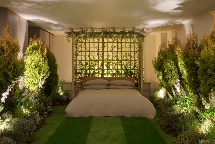 5-green-eco-naturalistic-style-house-for-rent-by-Pantone-Airbnb-London-greenery-potted-plants-bedroom-interior-design-lawn-grass-floor