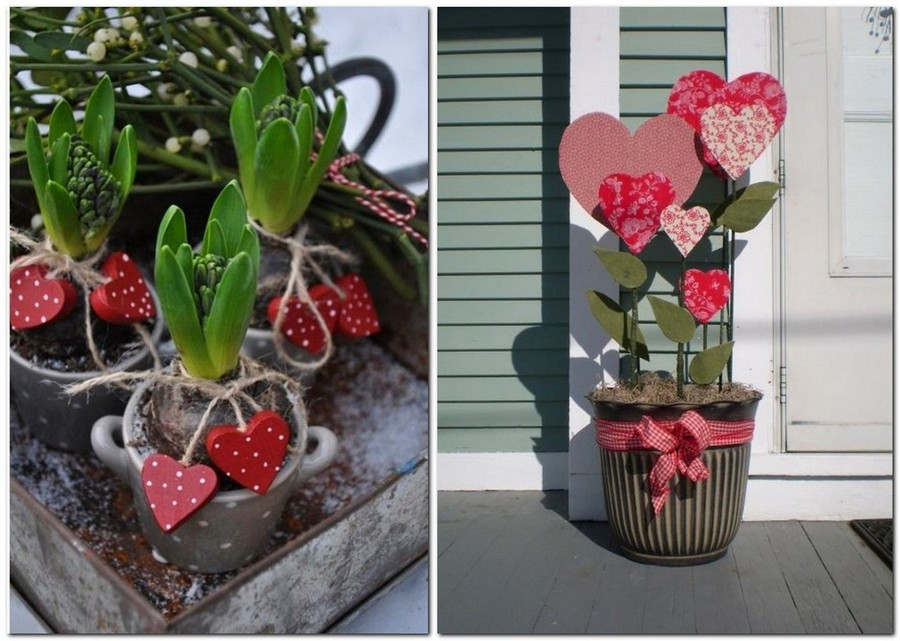 5-how-to-decorate-room-for-Valentine's-Day-decor-ideas-potted-plant-decorated-with-paper-hearts