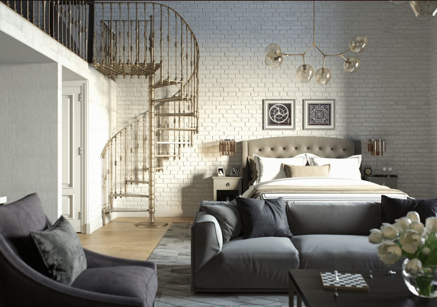 5-loft-studio-apartment-with-mezzanine-gray-furniture-upholstered-double-bed-TV-zone-sofa-arm-chairs-winding-staircase-white-brick-wall