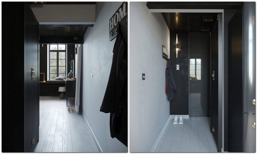 5-monochrome-black-walls-and-white-floor-ceiling-apartment-interior-design-with-mezzanine-floor-entry-room-coat-rack-home-closet