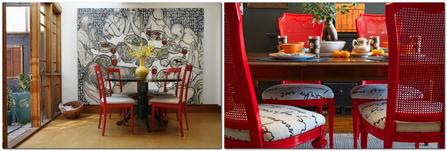 5-red-dining-chairs-accent-table-in-kitchen-interior-design