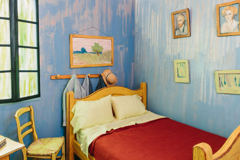 5-vincent-van-gogh-painting-the-bedroom-in-arles-reconstructed-interior-design-copy-in-chicago-blue-walls-red-bedspread-pale-lime-green-pillow-yellow-bed-chairs