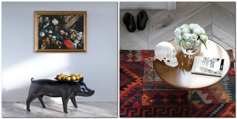 5-white-walls-eclectic-style-lounge-living-room-interior-design-details-decor-Hieronymus-Bosch-Paintings-piglet-shaped-animalistic-black-coffee-table-white-walls-sculp-ethnical-rug