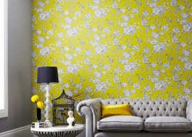 6-3-bright-yellow-and-white-Engish-style-wallpaper-floral-pattern
