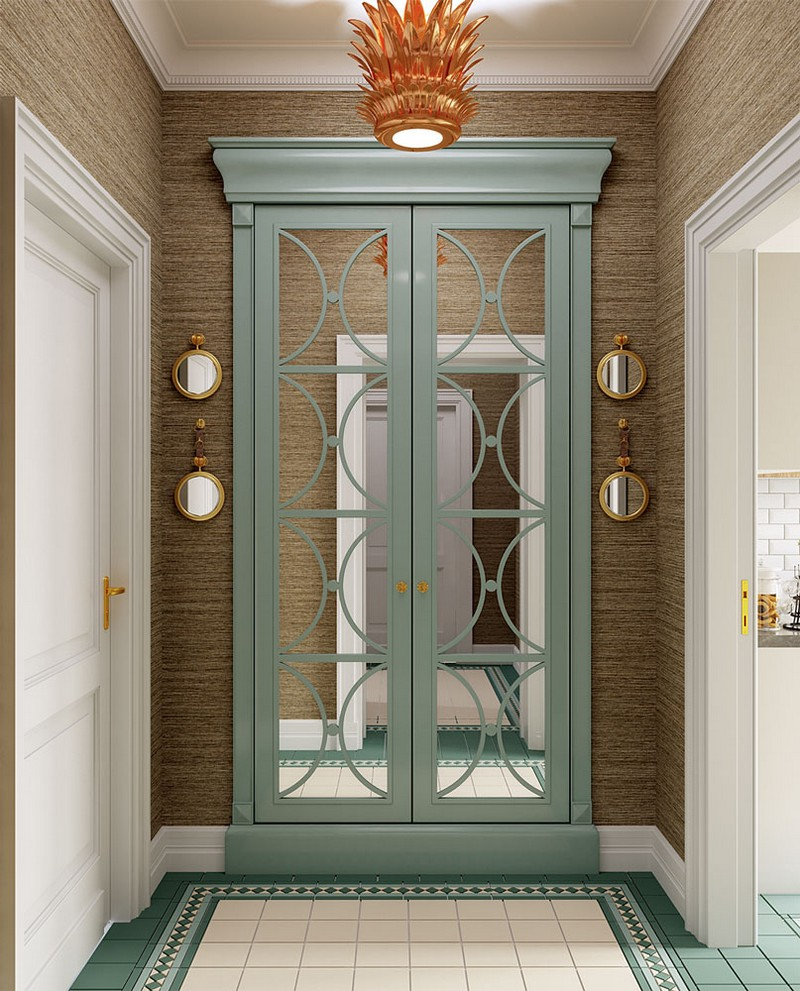 6-American-contemporary-style-interior-design-with-art-deco-chandelier-corridor-classical-framed-doorway-door-decor-mirrors-lattice-blue-beige-jute-texture-wallpaper-mettlach-floor-tiles