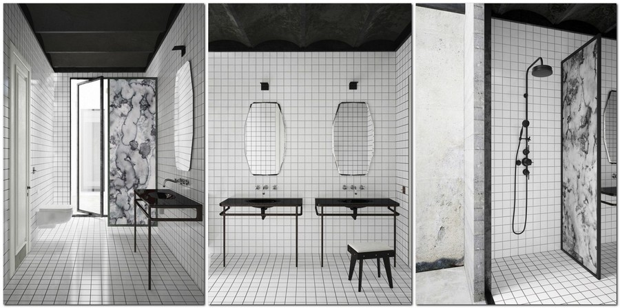 6-ascetic-minimalist-loft-style-interior-design-white-walls-black-ceiling-square-tiles-black-wash-basin-cabinet-retro-sower-head-marble-partition-wall-monochrome