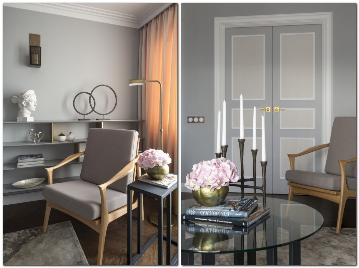 6-gray-pink-beige-French-style-living-room-home-library-interior-design-with-art-deco-elements-shelving-unit-arm-chairs-floor-lamp-candlestick-door