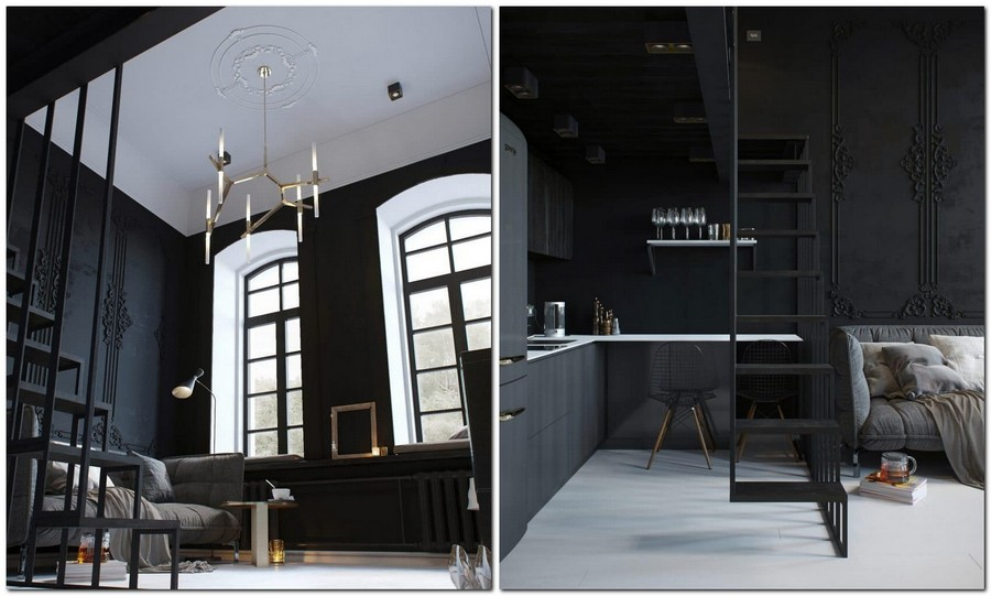6-monochrome-black-walls-and-white-floor-high-ceiling-apartment-interior-design-with-mezzanine-floor-living-room-open-concept-kitchen-big-windows