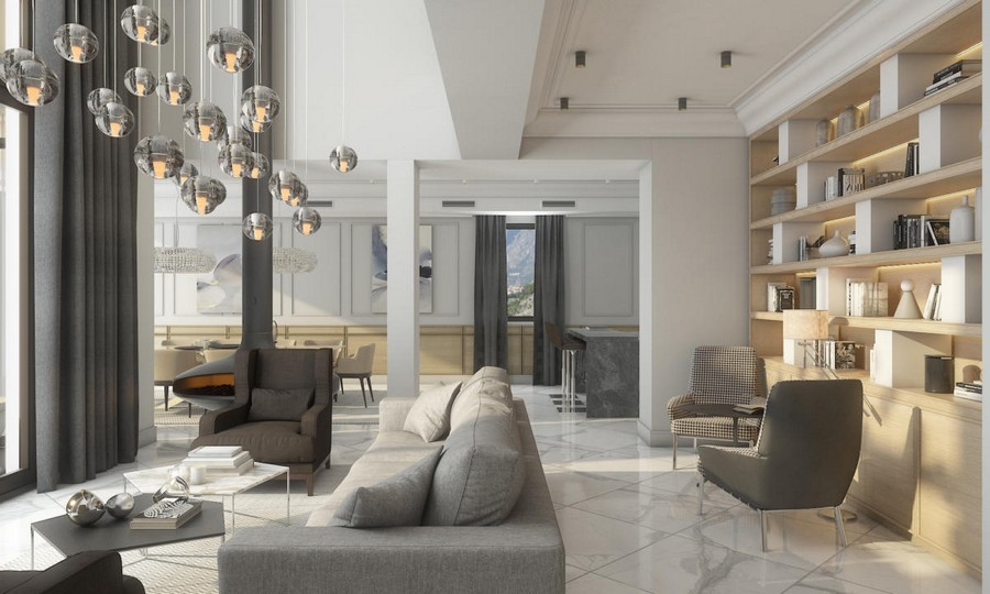 6-neutral-beige-and-gray-colors-interior-design-in-contemporary-style-open-concept-living-dining-room-sofa-arm-chairs-shelving-unit-many-pendant-lamps-curtains-white-marble-floor-tiles-coffee-tables