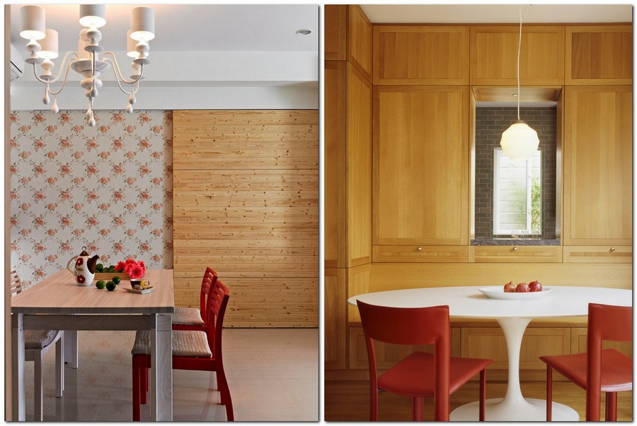 6-red-dining-chairs-accent-table-in-kitchen-interior-design-wooden-wall