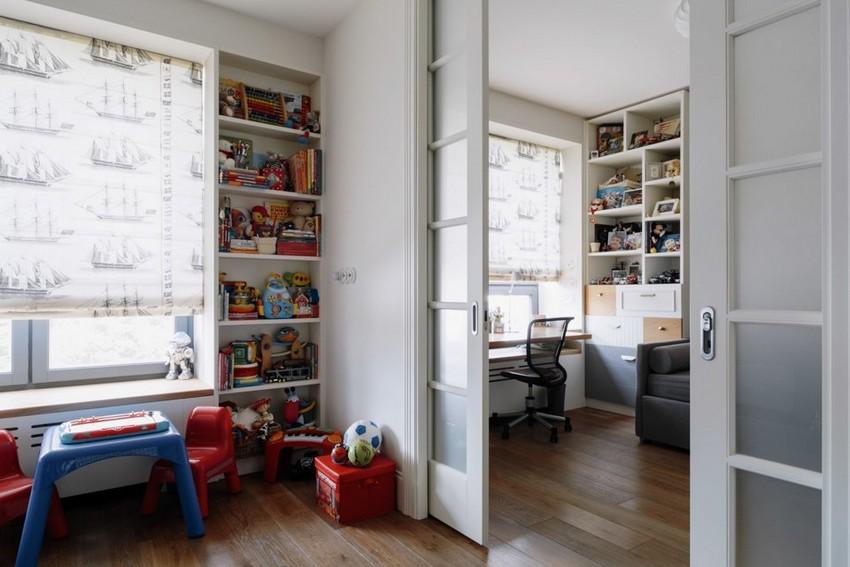 7-4-minimalist-style-white-walls-and-gray-apartment-interior-design-toddler-kids'-bedrooms-rooms-sliding-doors-shelving-units