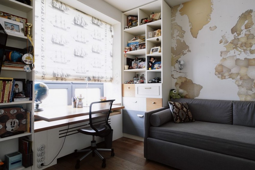 7-6-minimalist-style-white-walls-and-gray-apartment-interior-design-toddler-kids'-bedrooms-rooms-world-map-wallpaper-roman-blinds-with-digital-printing-desk-windowsill-shelving-unit