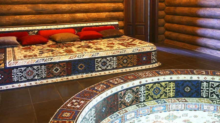 7-Turkish-style-bathhouse-sauna-faced-with-mosaic-tiles-bath-swimming-pool-stove-bench