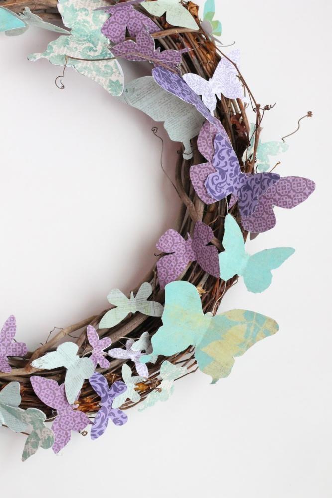 Elegant  butterfly wall art decor ideas wreath lilac