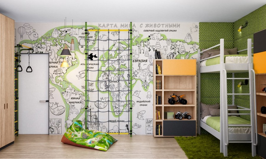 7-eco-minimalist-Scandinavian-style-kids-toddler-room-interior-design-natural-materials-white-bunk-bed-climbing-frame-world-map-wall-green-beige-shaggy-carpet