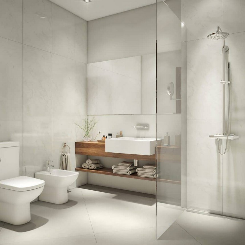 7-minimalist-Scandinavian-style-bathroom-interior-design-big-wash-basin-rain-shower-cabin-glass-mirror-towel-shelf-storage-toilet-bowl-bidet-white-American-walnut-veneer