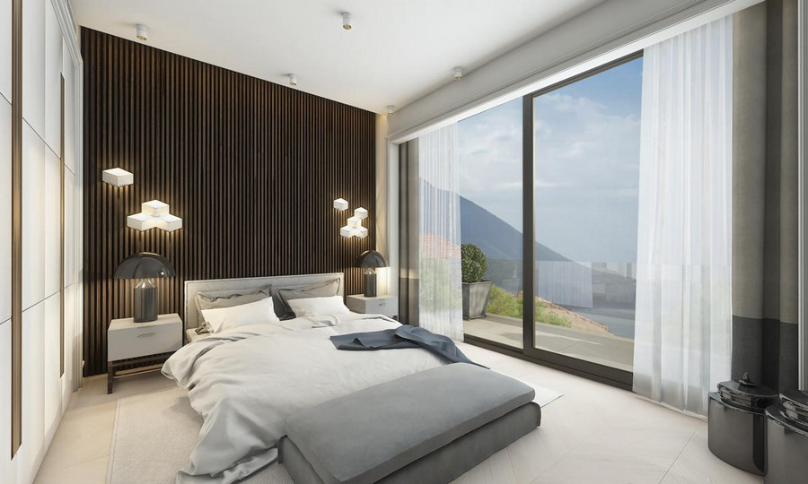 7-neutral-brown-and-gray-colors-bedroom-interior-design-in-contemporary-style-bed-bedspread-built-in-closet-wooden-planks-panels-wall-decor-bedside-lamps-LED-lights-ottoman-panoramic-windows