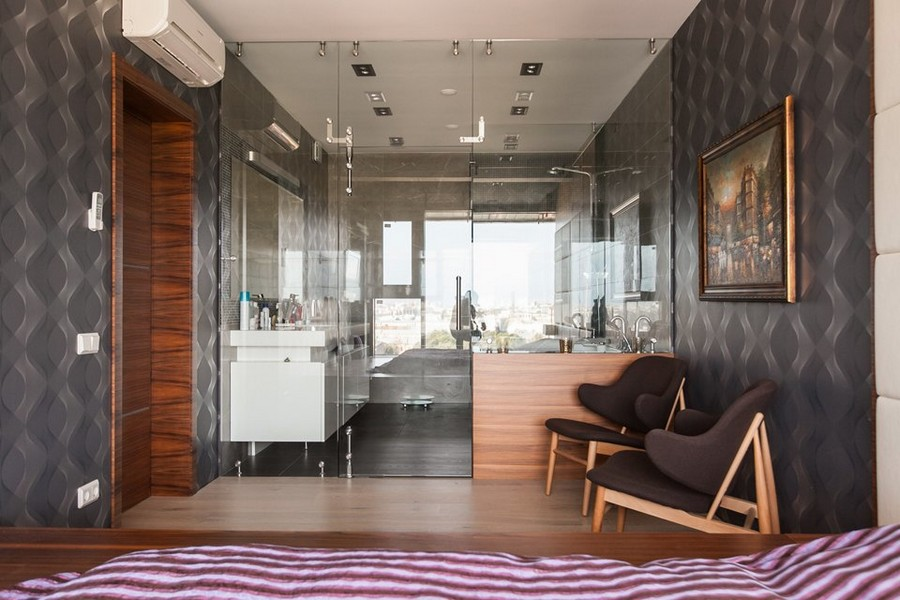 8-0-bachelor's-loft-style-bedroom-interior-design-blue-wallpaper-podium-bed-glass-wall-to-bathroom-suspended-wash-basin-cabinet