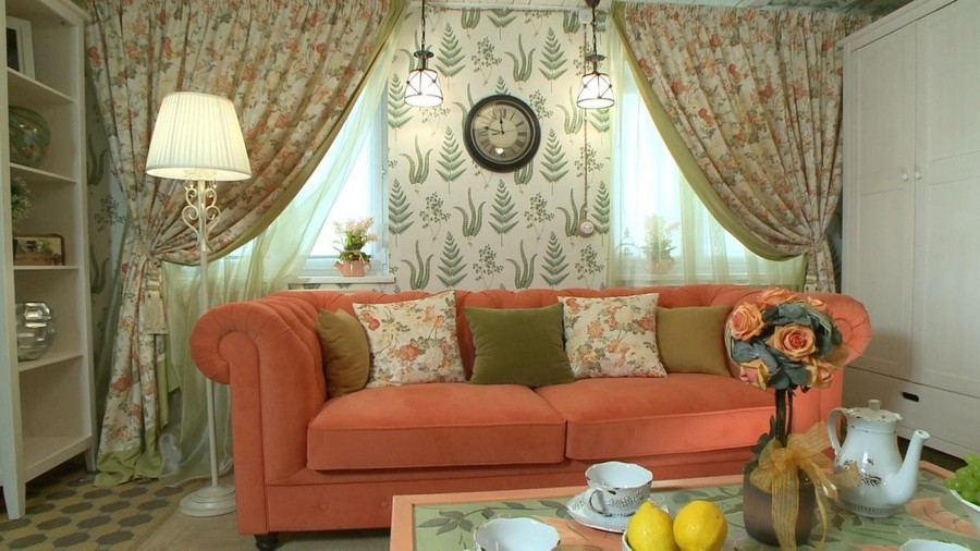 8-Provence-style-living-room-interior-design-green-mint-and-coral-colors-sofa-in-English-style-drapery-floral-pattern-curtains-floor-lamp-clock-pendant-lamps
