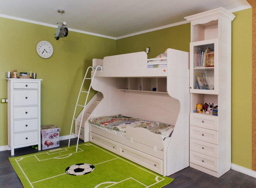 9-green-and-white-traditional-kid's-bedroom-toddler-room-interior-design-football-inspired-carpet-loft-bed