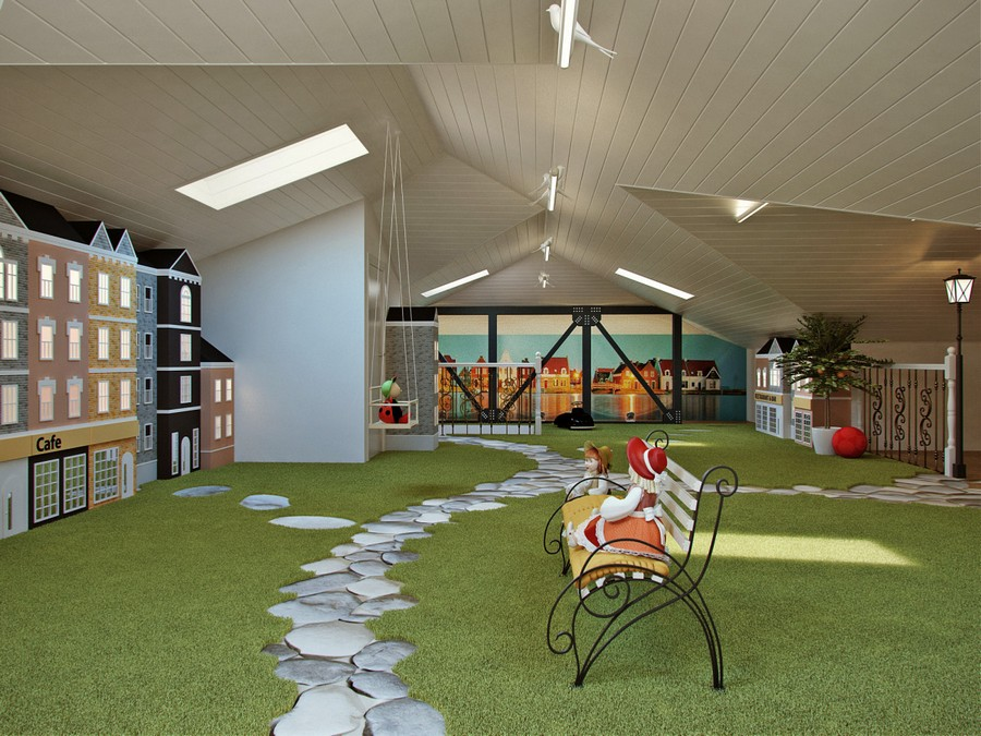 0-attic-floor-toddler-kids-room-playroom-game-room-interior-design-gray-walls-play-houses-paths-green-shaggy-carpet-forged-bench-toys-stereo-vario-wall-mural-sloped-ceiling-base-lantern-skylights