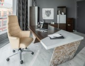 Brutal & Elegant Office: Mixture of Concrete and Zebrawood