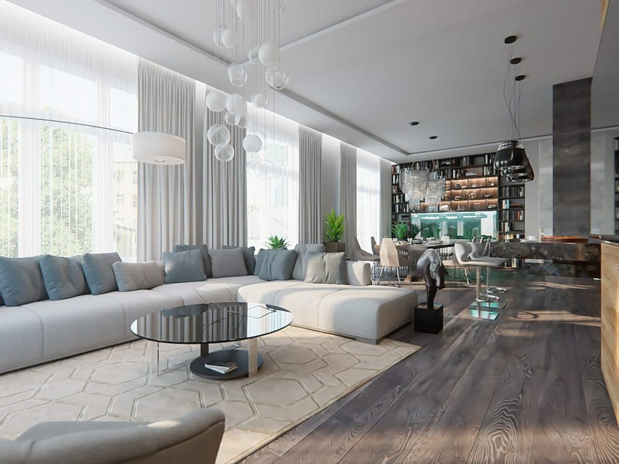 0-contemporary-style-open-concept-living-dining-room-kitchen-lounge-interior-design-white-walls-panoramic-windows-home-library-chandeliers-bar-marble-coffe-table-chairs-aquarium-gray-sofa-tufting-carpet