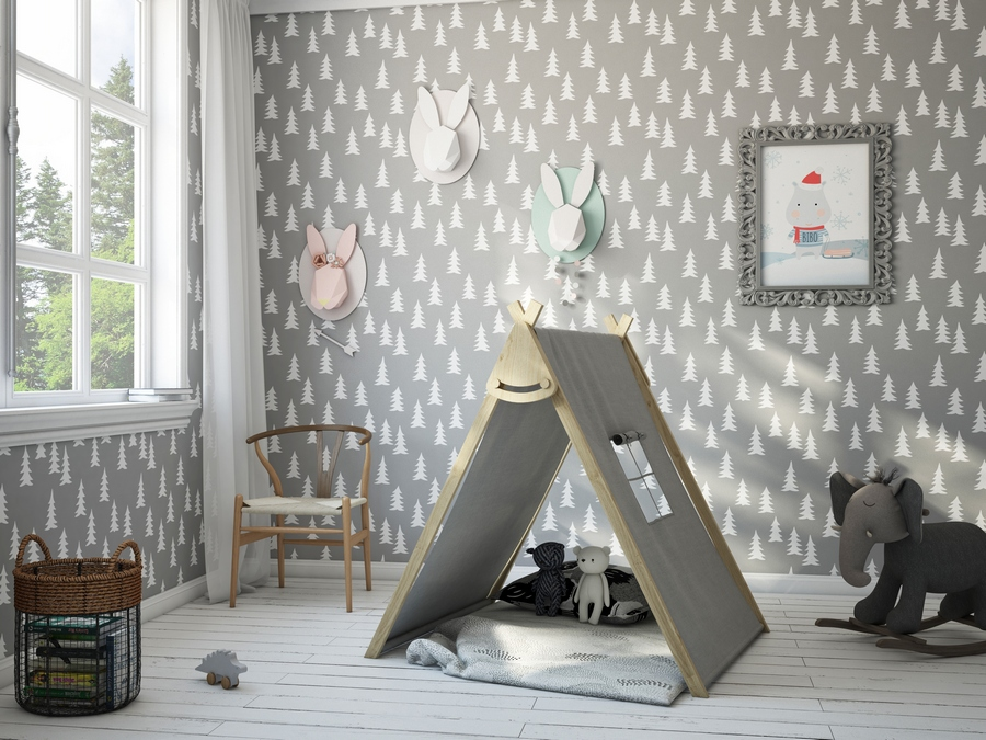 kids children toddler room interior design contemporary style gray