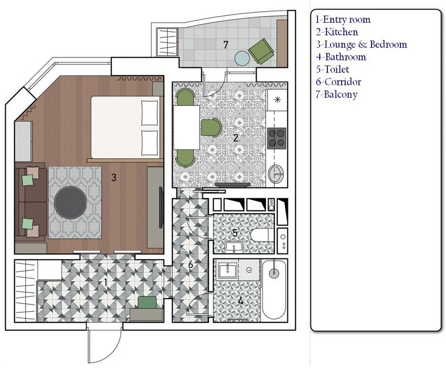 0 One Room Apartment Plan Layout Scheme With