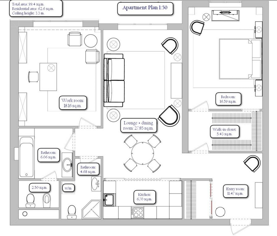0-re-planned-three-room-apartment-with-two-bathrooms-walk-in-closets-plan-scheme-layout-furniture