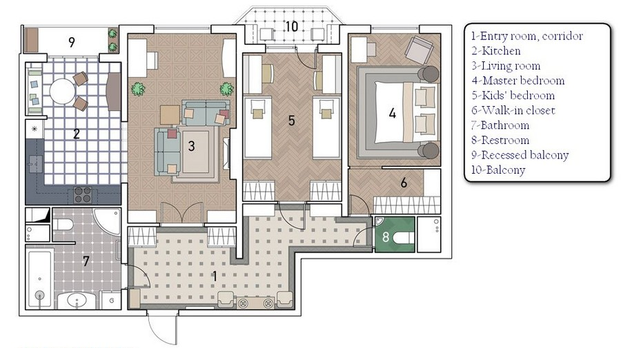 0 Three Room Apartment Layout Plan Scheme With