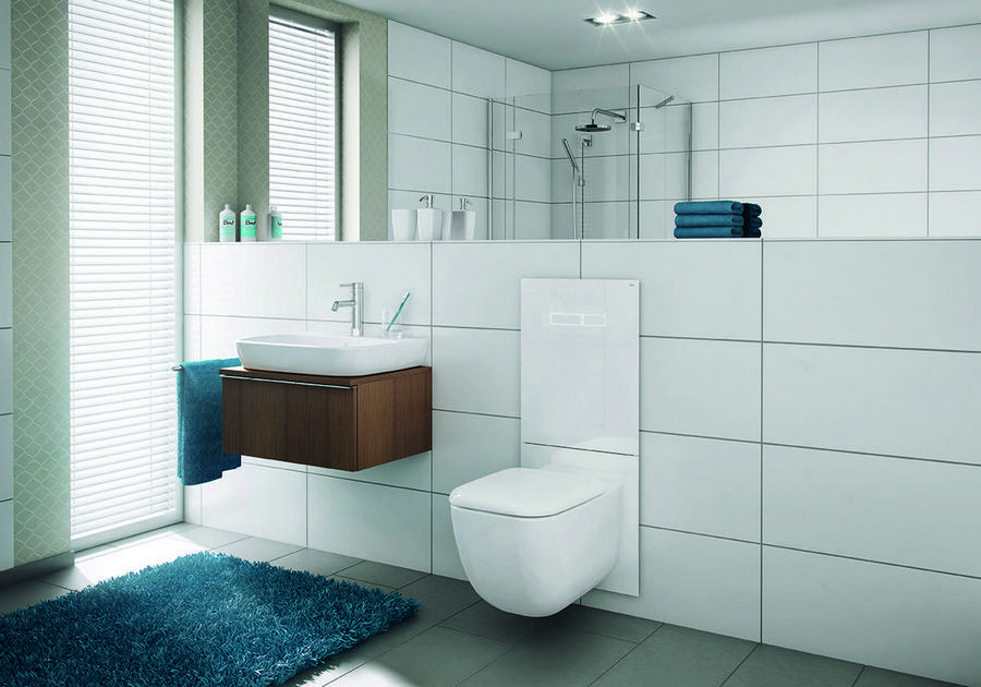 0 White Walled Big Bathroom WC Shower Interio