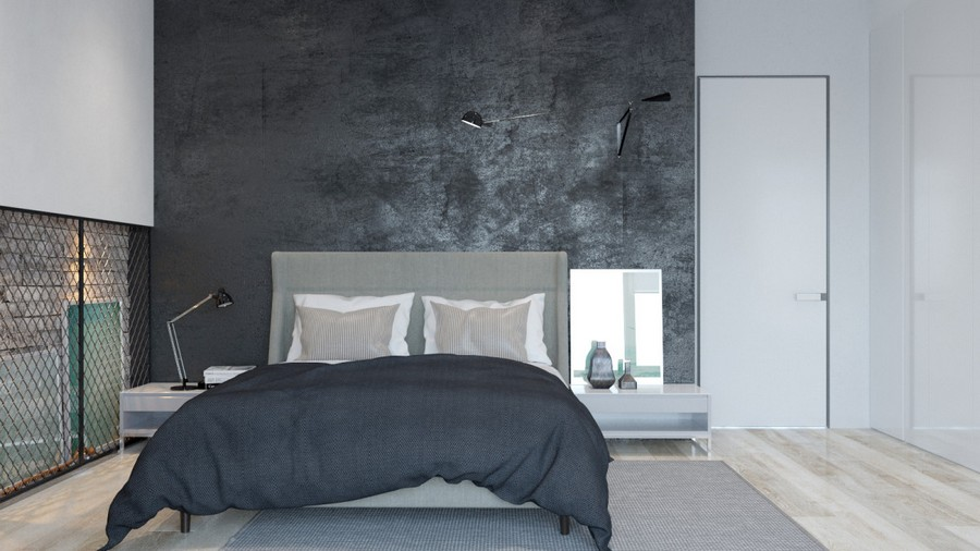 1-1-brutal-contemporary-style-interior-design-light-floor-gray-concrete-walls-minimalism-bedside-tables-hinged-desk-lamp-mirror-invisble-door-white-wall-black-bed-linen