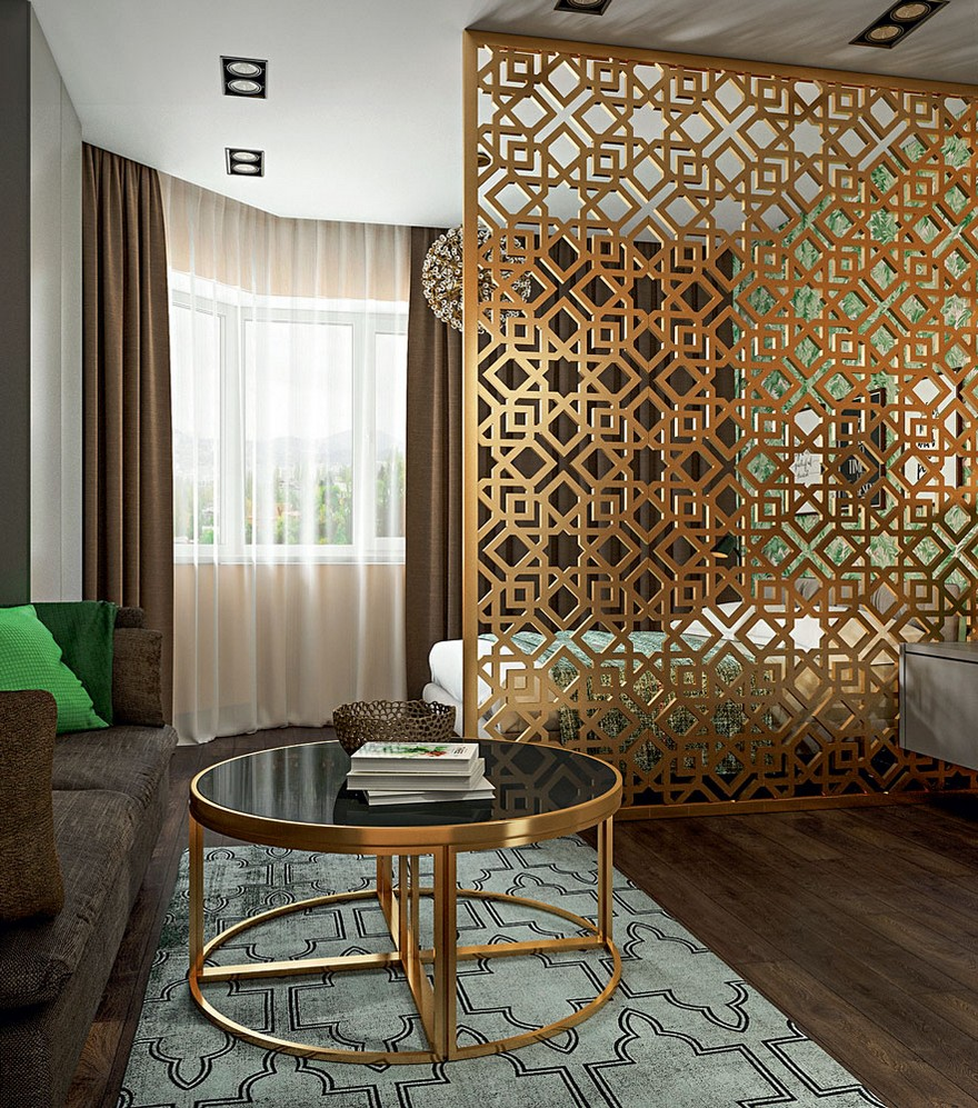 1-2-contemporary-style-interior-design-living-room-lounge-perforated-screen-room-divider-round-metal-coffee-table-Eichholtz-chocolate-brown-parquetry-IKEA-sofa-green-throw-pillows-geometrical-carpet-bedroom-bed
