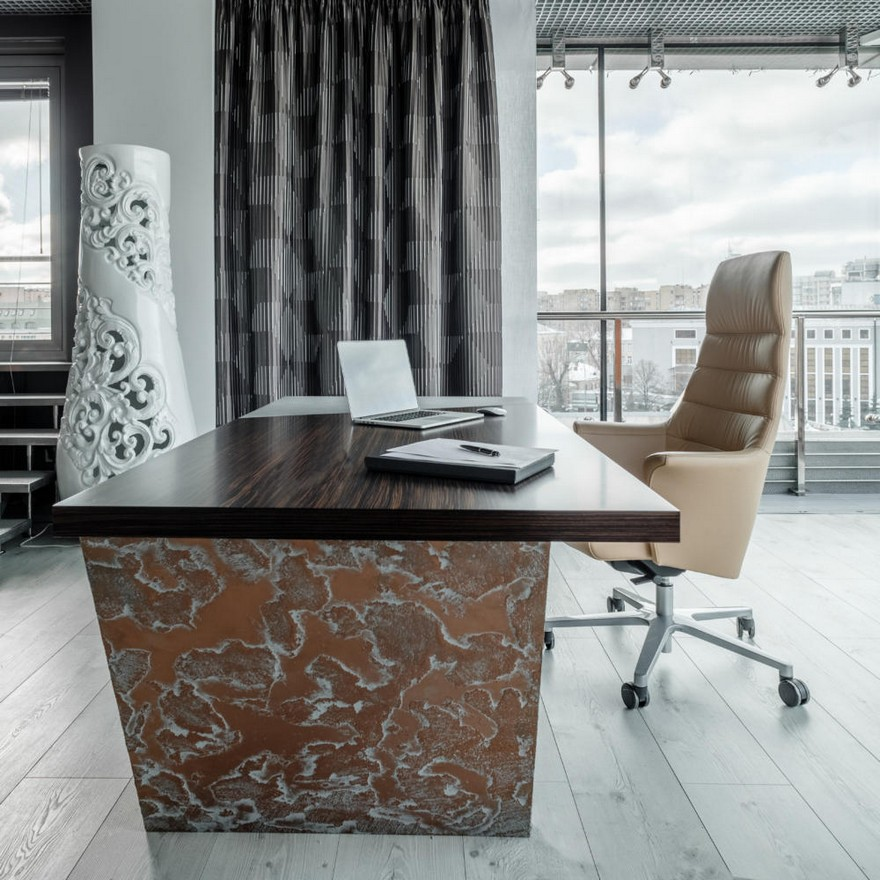 1-2-contemporary-style-office-interior-design-beige-gray-brown-brutal-mixed-material-concrete-and-zebrawood-wooden-furniture-panoramic-window-creative-desk-curtains-cabinet