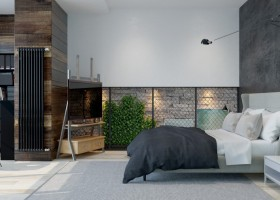 1-3-brutal-contemporary-style-bedroom-interior-design-light-floor-gray-concrete-walls-minimalism-recessed-shelves-bookstand-black-radiator-graphite-bed-linen-chair-white-bedside-table-wooden-TV-stand