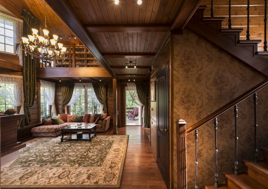 1-5-log-timber-wooden-house-interior-design-walls-big-panoramic-windows-overdrapery-drapery-sheer-curtains-gallery-open-to-below-second-floor-floral-sofa-green-pink-brown-living-room-lounge