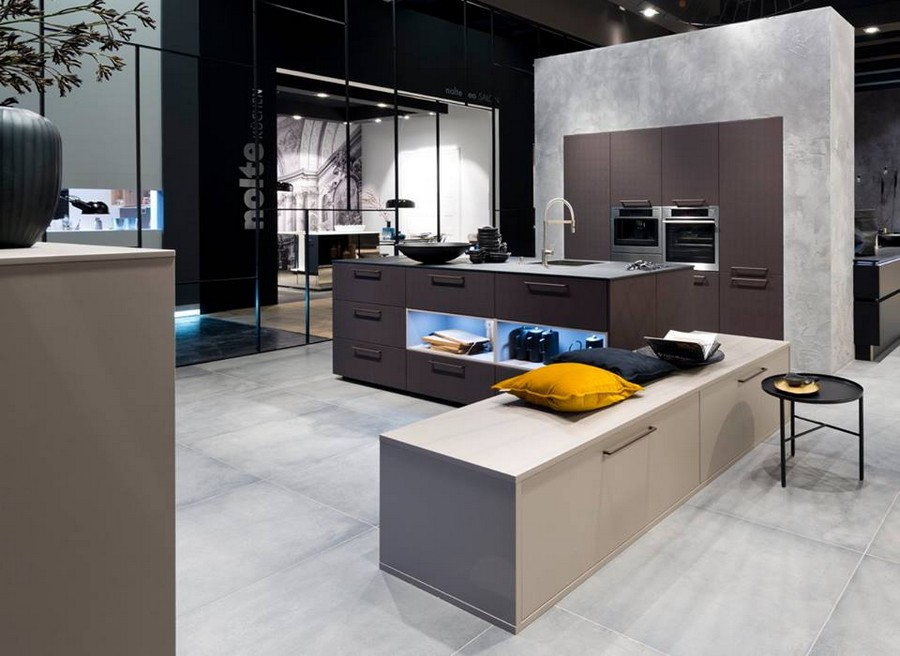 1-6-Nolte-Küchen-kitchen-set-design-at-LivingKitchen-show-in-Cologne-Germany-2017-international-exhibition-gray-concrete-brown-minimalistic