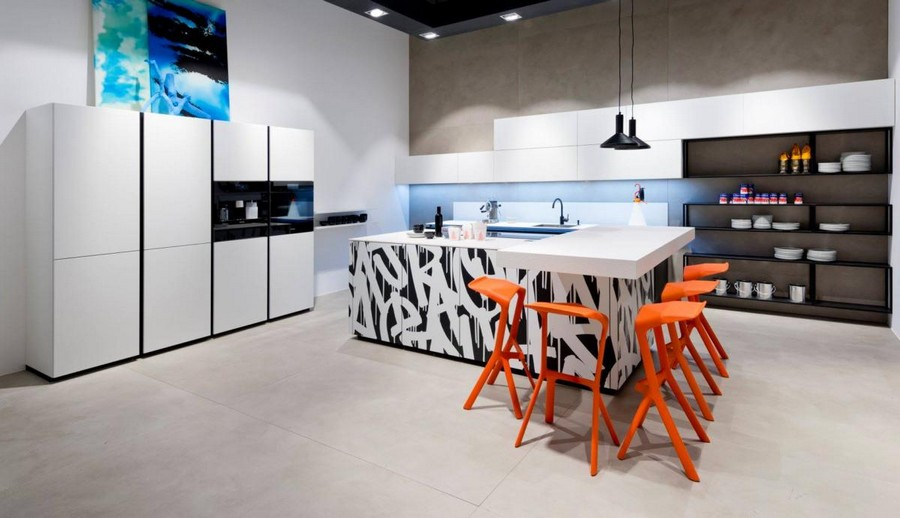 1-7-Nolte-Küchen-kitchen-set-design-at-LivingKitchen-show-in-Cologne-Germany-2017-international-exhibition-minimalistoc-black-and-white-cabinets-open-shelves