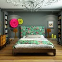 1-contemporary-style-bedroom-interior-design-upholstered-bed-green-floral-headboard-ju-ju-hats-asymmetrical-wall-decor-mirrored-bedside-tables-chest-of-drawers-lamps-ceiling-medallion-classical-shelves-gray-walls