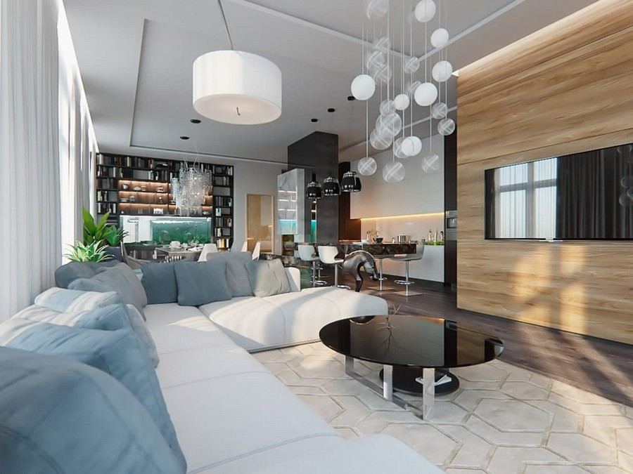 1-contemporary-style-open-concept-living-dining-room-kitchen-lounge-interior-design-white-walls-panoramic-windows-home-library-chandeliers-fireplace-aquarium-wooden-wall-panels-TV-gray-sofa-carpet-bar-floor-lamp