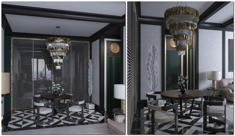 1-dark-black-and-gray-living-dining-room-zone-interior-design-in-contemporary-style-art-deco-furniture-chandelier-round-table-chairs-glass-sliding-doors-black-and-white-floor-tiles-ceiling-beams