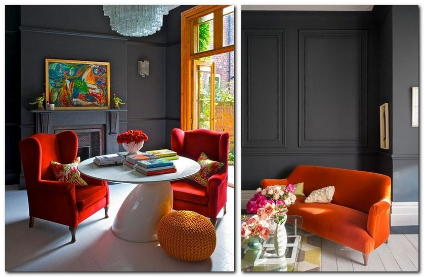 1-flame-red-color-by-Pantone-2017-in-interior-design-living-room-dark-gray-walls-arm-chairs-sofa-whie-floor-fireplace