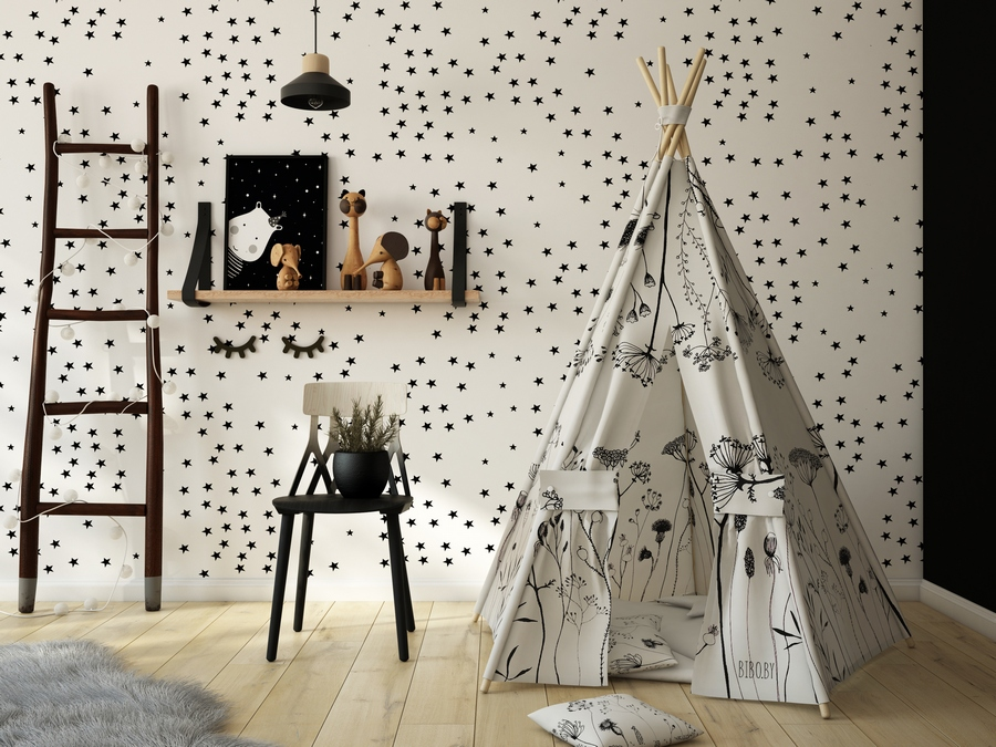 1-kids-children-toddler-room-interior-design-contemporary-style-black-and-white-ladder-chair-open-rack-shelf-wigwam-teepee