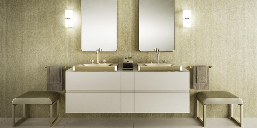 1-new-Baa-collection-2017-by-Roca-bathroom-design-by-Giorgio-Armani-luxurious-premium-interior-suspended-floating-double-wash-basin-cabinet-matte-gold-mixer-taps-towel-rails-beige-white-shagreen-texture