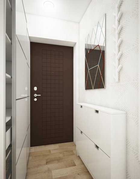 1-small-entrance-hall-hallway-interior-design-light-laminate-floor-white-walls-shoe-cabinet-built-in-closet-mirror-coat-rack