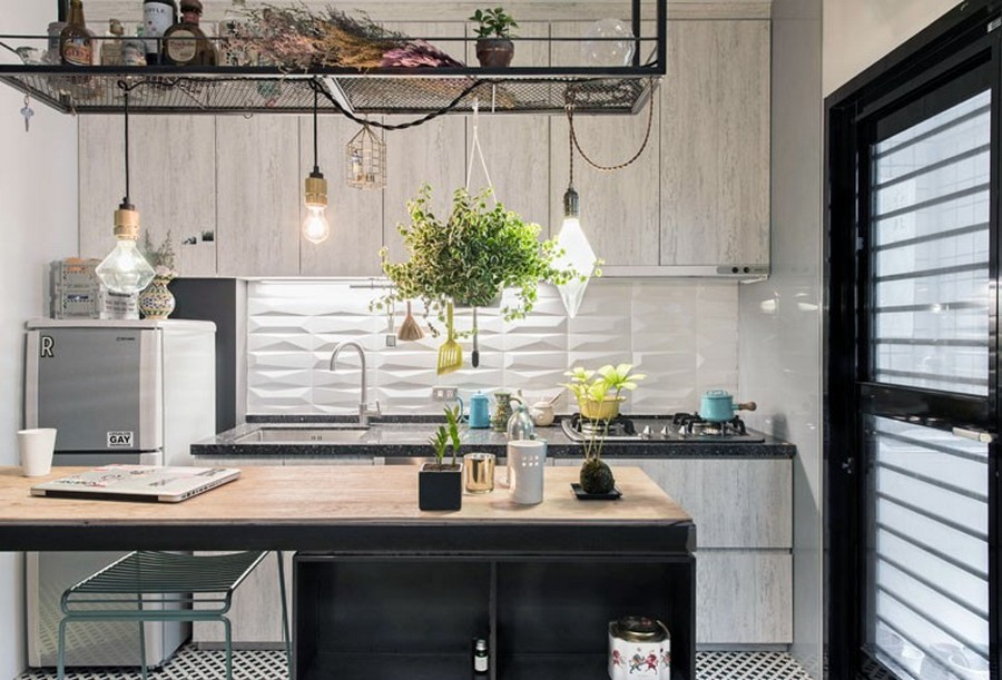 1-tiny-small-single-woman's-studio-apartment-Taiwan-gray-walls-black-interior-design-accents-light-wood-kitchen-cabinets-island-work-desk-exposed-wires-bulbs-3D-backsplash-white-hanging-flower-basket