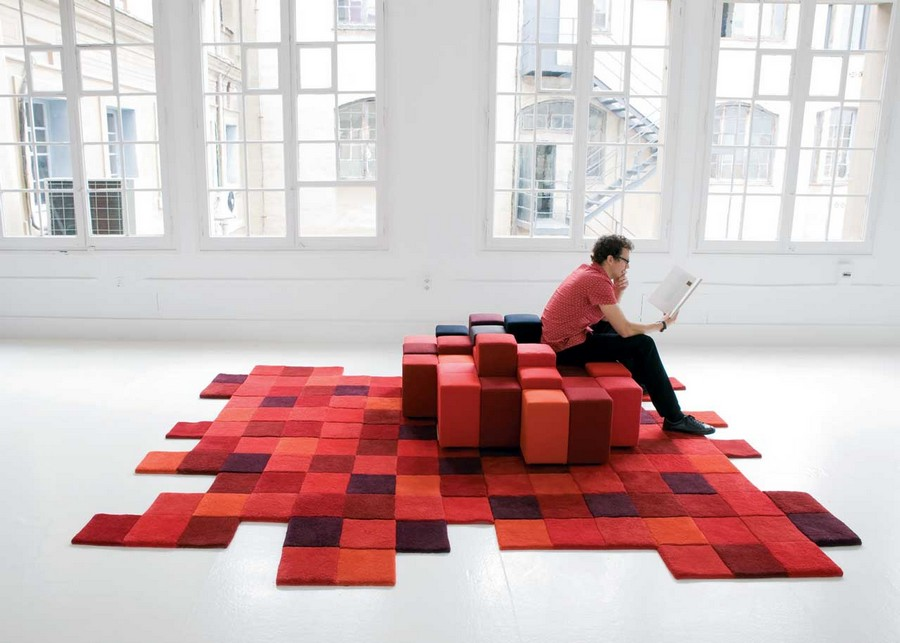 1-Do-Lo-Rez-rug-designed-by-Ron-Arad-Nanimarquina-100%-New-Zealand-wool-hand-tufted-handmade-crafted-3D-squares-multicolored-red-orange-blue-brown