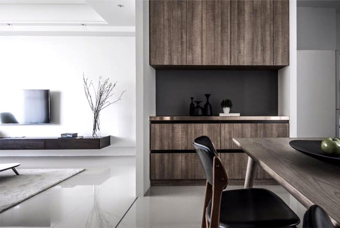 10-contemporary-minimalist-naturalistic-style-interior-white-walls-glossy-floor-gray-black-accents-wooden-cabinets-wood-grain-open-concept-kitchen-dining-room